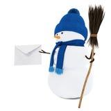 Muñeco de nieve con una letra Foto de archivo libre de regalías