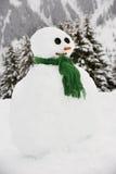Muñeco de nieve construido en la localización alpestre foto de archivo