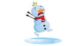 Muñeco de nieve corriente en la Navidad Imagenes de archivo
