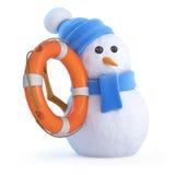 muñeco de nieve 3d con el anillo de vida Foto de archivo