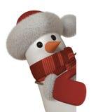 muñeco de nieve 3d con una muestra Fotografía de archivo
