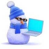 muñeco de nieve 3d con una PC del ordenador portátil Fotografía de archivo libre de regalías