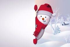 muñeco de nieve 3d, ocultando detrás de la pared, mirando hacia fuera, backg de la Navidad Fotografía de archivo