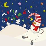 Muñeco de nieve de la historieta adentro   Imágenes de archivo libres de regalías