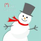 Muñeco de nieve de la historieta en la esquina Fondo para una tarjeta de la invitación o una enhorabuena Diseño plano de la tarje Foto de archivo