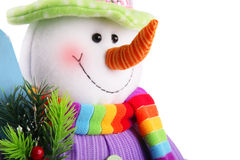 Muñeco de nieve de la Navidad aislado en un fondo blanco Fotos de archivo libres de regalías