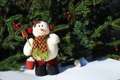Muñeco de nieve de la Navidad con el fondo del cepillo del abeto Fotografía de archivo libre de regalías