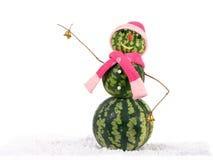 Muñeco de nieve de la Navidad de la sandía con las campanas de oro en sombrero y bufanda rosados en la nieve Concepto del día de  Fotografía de archivo