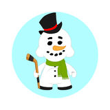 Muñeco de nieve de la Navidad en un sombrero de copa y un palillo fotos de archivo libres de regalías