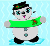 Muñeco de nieve de la Navidad que canta una consonancia Imagenes de archivo