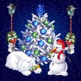 Muñeco de nieve de la postal y oso polar el dormir Imagen de archivo libre de regalías