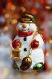 Muñeco de nieve, decoración del árbol de navidad Foto de archivo libre de regalías