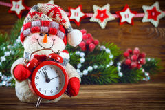 Muñeco de nieve del Año Nuevo y de Chrismas Imagenes de archivo