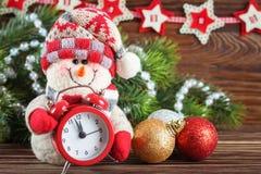 Muñeco de nieve del Año Nuevo y de Chrismas Fotografía de archivo libre de regalías