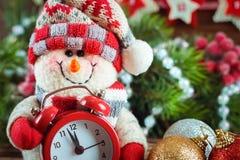 Muñeco de nieve del Año Nuevo y de Chrismas Imágenes de archivo libres de regalías
