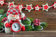 Muñeco de nieve del Año Nuevo y de Chrismas Foto de archivo libre de regalías