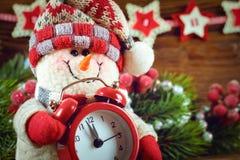 Muñeco de nieve del Año Nuevo y de la Navidad Imagenes de archivo