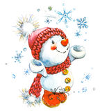 Muñeco de nieve del Año Nuevo y decoración de la Navidad Ilustración de la acuarela