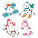 Muñeco de nieve del deporte de invierno ilustración del vector
