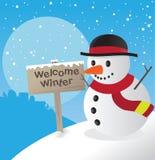 Muñeco de nieve del invierno Fotografía de archivo libre de regalías