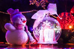 Muñeco de nieve del juguete de la Navidad Imagen de archivo