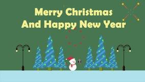 Muñeco de nieve del movimiento de la animación con el regalo Feliz Navidad libre illustration