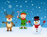Muñeco de nieve del reno del duende de la Feliz Navidad ilustración del vector
