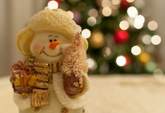 Muñeco de nieve del tiempo de la Navidad Fotos de archivo libres de regalías
