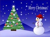 Muñeco de nieve del vector y árbol de abeto Imagen de archivo libre de regalías