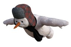 Muñeco de nieve del vuelo stock de ilustración