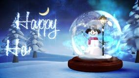Muñeco de nieve dentro del globo de la nieve con el saludo mágico de la Navidad ilustración del vector