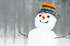 Muñeco de nieve divertido del invierno fotografía de archivo