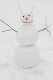 Muñeco de nieve divertido hecho a mano Fotografía de archivo
