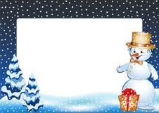 Muñeco de nieve divertido. Marco de la foto del invierno. Fotografía de archivo