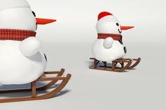 Muñeco de nieve dos, y trineos de madera con él Imágenes de archivo libres de regalías