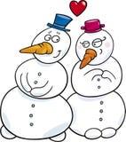 Muñeco de nieve en amor Fotos de archivo