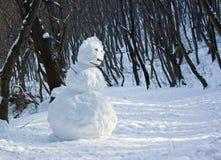 Muñeco de nieve en bosque fotografía de archivo