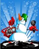 Muñeco de nieve en el disco Fotos de archivo libres de regalías