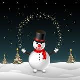 Muñeco de nieve en el fondo de árboles Imágenes de archivo libres de regalías