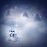 Muñeco de nieve en el fondo del invierno Fotos de archivo