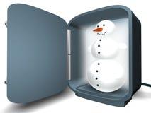 Muñeco de nieve en el refrigerador Foto de archivo