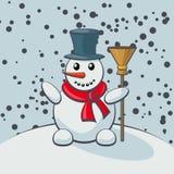 Muñeco de nieve en estilo de la historieta Imagenes de archivo