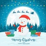 Muñeco de nieve en fondo azul del invierno con los regalos y las luces de la Navidad stock de ilustración