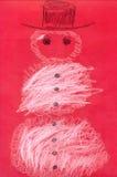 Muñeco de nieve en la cartulina roja Imágenes de archivo libres de regalías