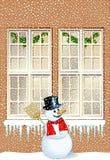 Muñeco de nieve en la casa stock de ilustración