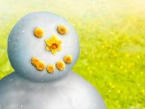 Muñeco de nieve en mayo Fotos de archivo