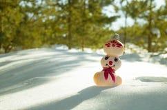 Muñeco de nieve en nieve en bosque del invierno Fotografía de archivo