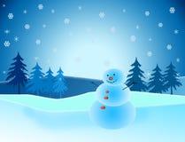 Muñeco de nieve en paisaje hivernal Fotos de archivo libres de regalías