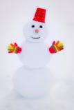 Muñeco de nieve en parque del invierno Imagen de archivo libre de regalías