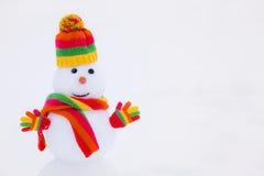 Muñeco de nieve en parque del invierno Imagenes de archivo